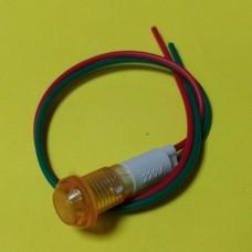 Лампа индикаторная, светодиодная в корпусе, цвет желтый, 220