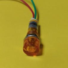 Лампа индикаторная, неоновая в корпусе, цвет желтый, 220