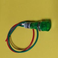 Лампа индикаторная, неоновая в корпусе, цвет зеленый, 220В