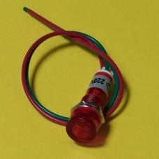Лампа индикаторная, неоновая в корпусе, цвет красный, 220
