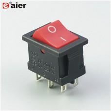 KCD1-203-1, 6pin, 6A, 250V, ON-OF-ON, красный, переключатель Daier
