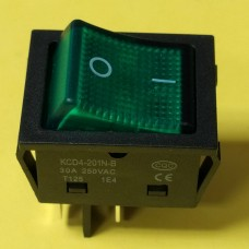 Переключатель клавишный KCD4-201N-B, зеленый, 30A, 4pin