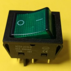 Переключатель клавишный KCD4-201N-B, зеленый, 30A, 6pin
