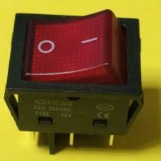 Переключатель клавишный KCD4-201N-B, красный, 30A, 6pin