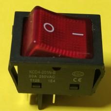 Переключатель клавишный KCD4-201N-B, красный, 30A, 4pin