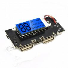 Плата контроллер к PowerBank с LCD дисплеем, 2 x USB 5В, 2А