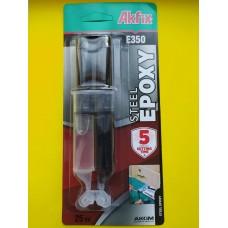 Эпоксидный клей в шприце для стали Akfix Е350