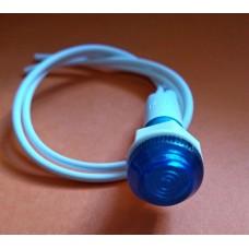 Неоновая лампочка-индикатор, круглая 14мм, посадка М10 под гайку с проводами 240V, синяя.