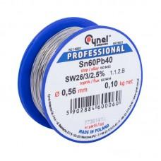 Припой проволочный 0,56мм 0,1кг. Cynel Sn60% Pb40% flux SW26/3/2,5%