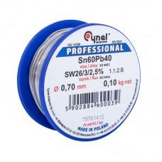 Припой проволочный 0,70мм 0,1кг. Cynel Sn60% Pb40% flux SW26/3/2,5%