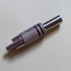 Штекер RCA с пружиной, диам.-6,5мм, металл, чёрный