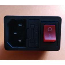 Штекер сетевой 3pin монтажный, с клавишей и предохранителем, корпус пластик.
