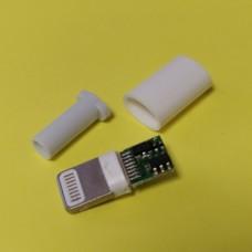 Штекер iPhone (Lightning) под кабель, разборной, с платой, белый