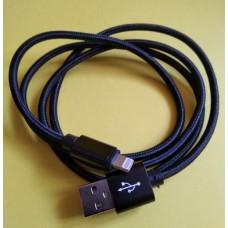 Шнур штекер USB А - штекер IPhone 6, диам.-4,5мм, 1м, чёрный
