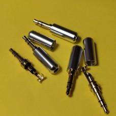 Штекер 3,5 мм стерео, металлический корпус, серебро